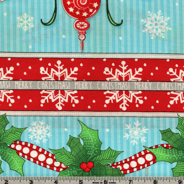 RJR Fabrics Christmas Wishes 2734 2 Merry Christmas Red & Sky Blue By The Yard