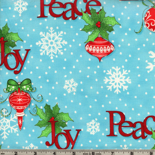 RJR Fabrics Christmas Wishes 2735 2 Love Joy Peace Red On Blue By The Yard