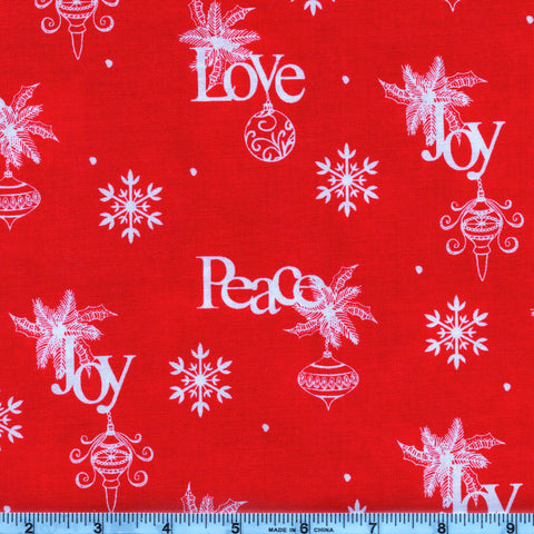 RJR Fabrics Christmas Wishes 2736 1 Love Joy Peace White on Red By The Yard