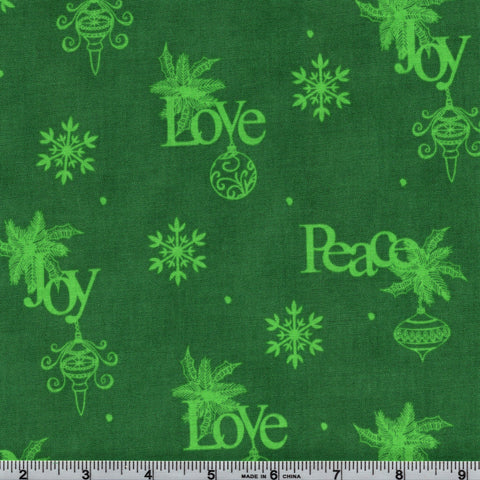 RJR Fabrics Christmas Wishes 2736 2 Love Joy Peace in Green By The Yard