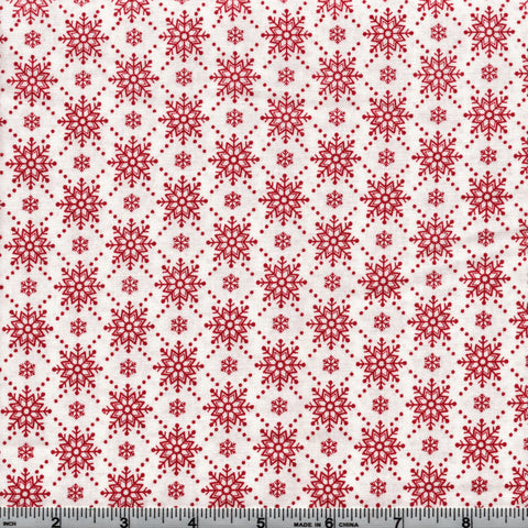 RJR Fabrics Christmas Wishes 2738 1 Cranberry Snowflakes on White By The Yard