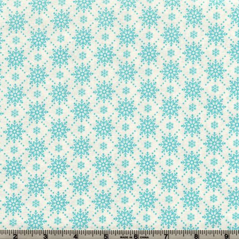 RJR Fabrics Christmas Wishes 2738 3 Blue Snowflakes On White By The Yard