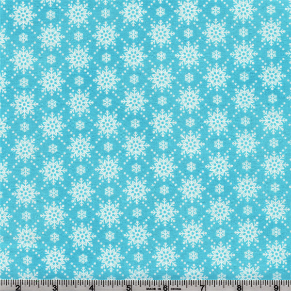 RJR Fabrics Christmas Wishes 2738 4 White Snowflakes On Aqua Sky By The Yard