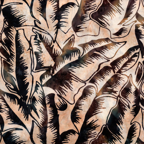 Hoffman Bali Batik 2740 134 Parchment Tropical Leaves On Beige By The Yard