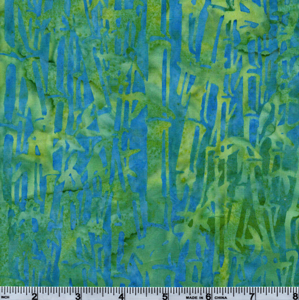 Hoffman Bali Batik 2747 303 Frog Green Bamboo Trees On Blue By The Yard