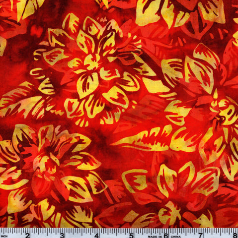 Hoffman Bali Batik 2752 389 Paprika Orange & Yellow Flowers By The Yard