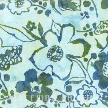 Hoffman Bali Batik 2800 458 Trellis Blue Green Large Floral by the yard