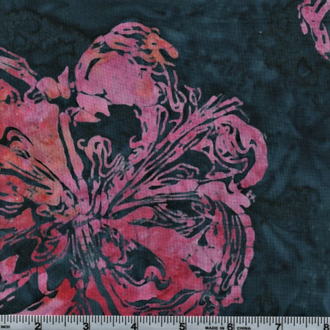 RJR Blossom Batiks 2805 8 Large Pink Floral On Teal By The Yard