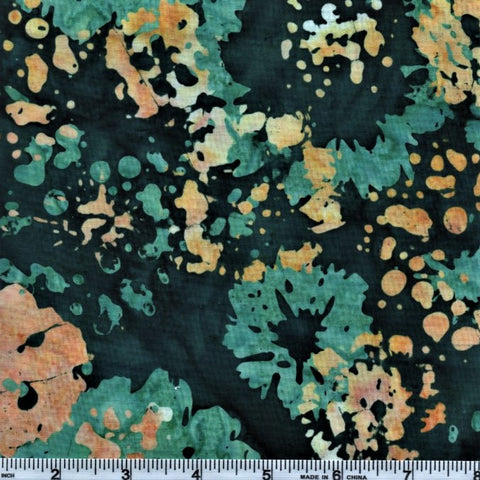 RJR Blossom Batiks 2814 3 Teal Flower Drops By The Yard
