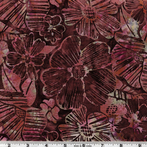 Hoffman Fabrics Bali Batik 2835 BURG Wine Large Hawaiian Floral By The Yard
