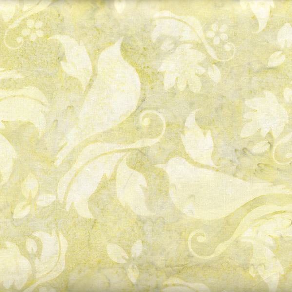Hoffman Bali Batik 2886 106 Celery Birds & Flowers on Green By the Yard