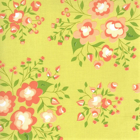 Moda Apricot & Ash 29101 17 Light Lime Rose Garden By The Yard