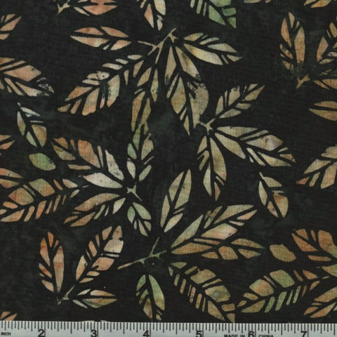 Hoffman Bali Batiks 2944 246 Amazon Tan Leaves On Black By The Yard