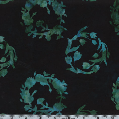 Hoffman Bali Batik 2948 216 Black Jade Wreath Blue Flower By The Yard