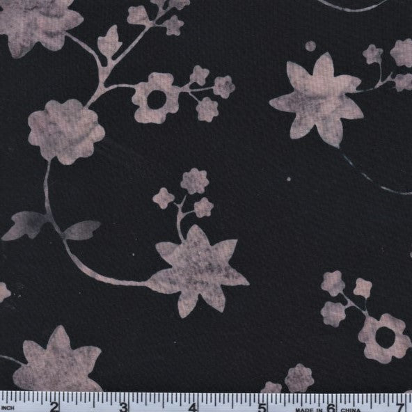 Hoffman Bali Batiks 2952 543 Sparrow Flowers On Black By The Yard