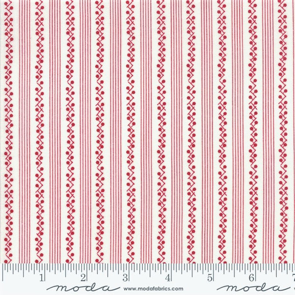 Moda My Redwork Garden 2954 13 Cream Red Morning Glories Stripe By The Yard