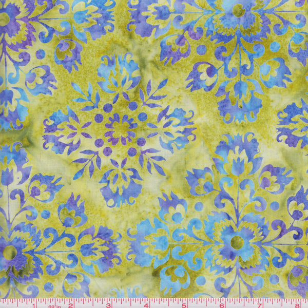 Hoffman Bali Batik 2960 413 Watercress Purple Flowers By The Yard