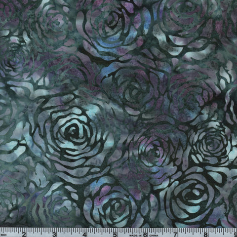 Hoffman Bali Batik 2962 183 Glacier Green Gray Roses By The Yard