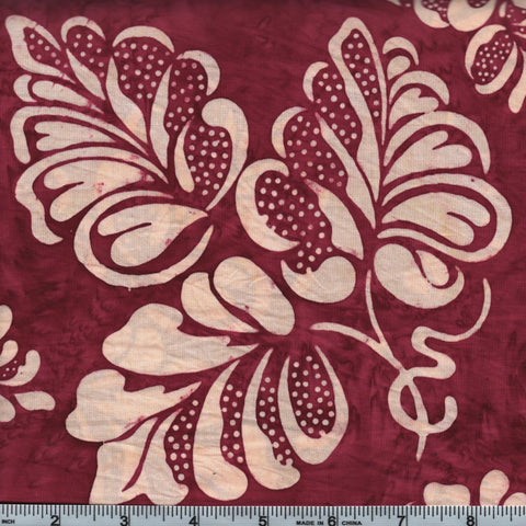 Hoffman Bali Batik 2970 38 Burgundy Heart Leaves By The Yard