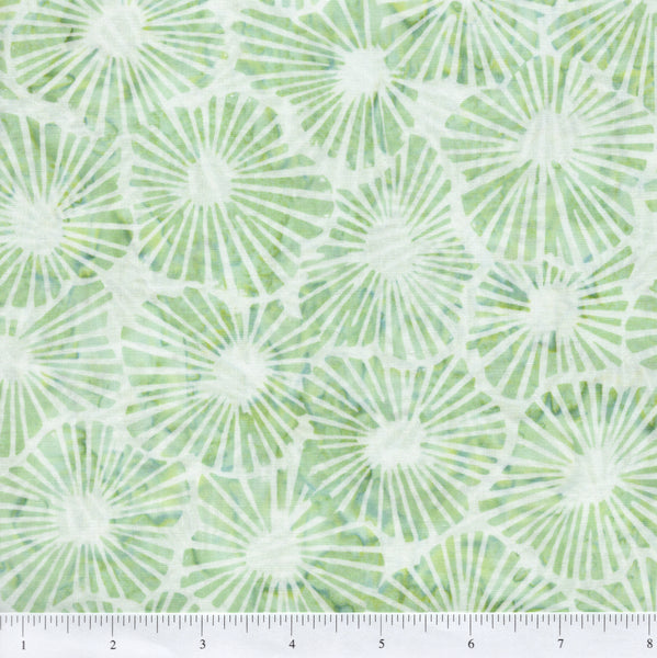 Hoffman Bali Batik 2971 383 Pesto Green Shell Flowers On White By The Yard