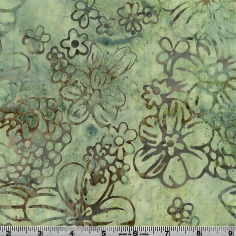 RJR Jinny Beyer Malam Batiks Mist 2976 3 Fun Floral Acorn on Misted Teal By The Yard