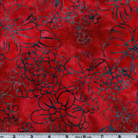 RJR Jinny Beyer Malam Batiks 2976 6 Floppy Floral Rusty Red By The Yard