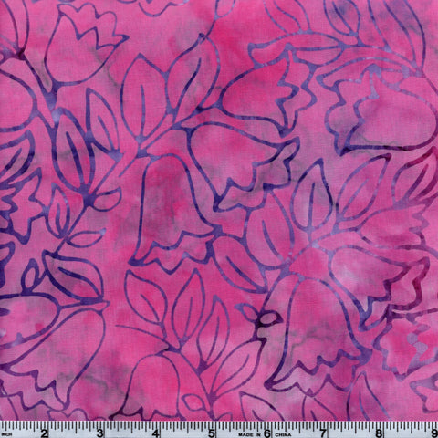 RJR Jinny Beyer Malam Batiks 2980 5 Coral Bells Peppermint Pink With Purple Flowers By The Yard