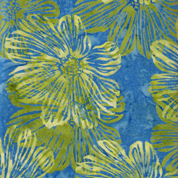 Hoffman Fabrics Bali Batiks 2982 421 Ceylon Hibiscus on Blue By the Yard