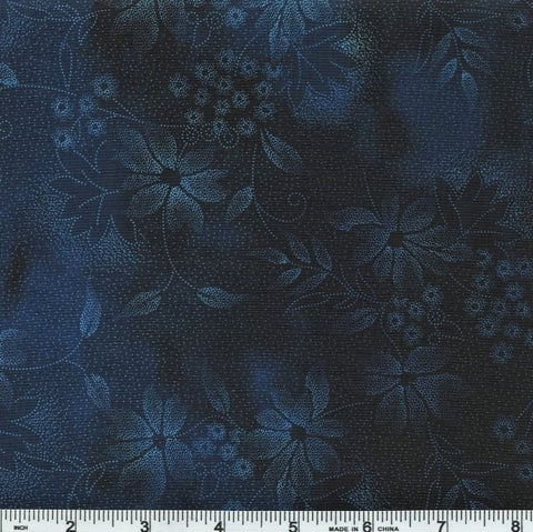 In The Beginning Fabrics Seasons 2SEA 2 Blue Night Flowers By The Yard