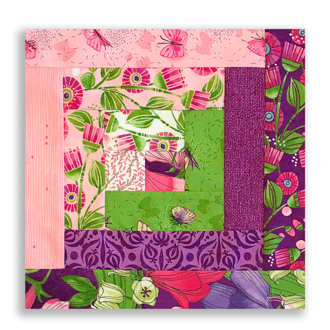 Moda PRE-CUT 12 Block Log Cabin Quilt Kit - Sweet Pea & Lily 2