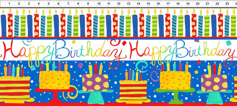 In The Beginning Happy Birthday 2JHO 1 Cake & Candle Stripe White/Blue By The Yard