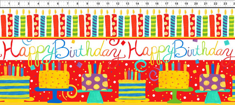 In The Beginning Happy Birthday 2JHO 2 Cake & Candle Stripe White/Red By The Yard