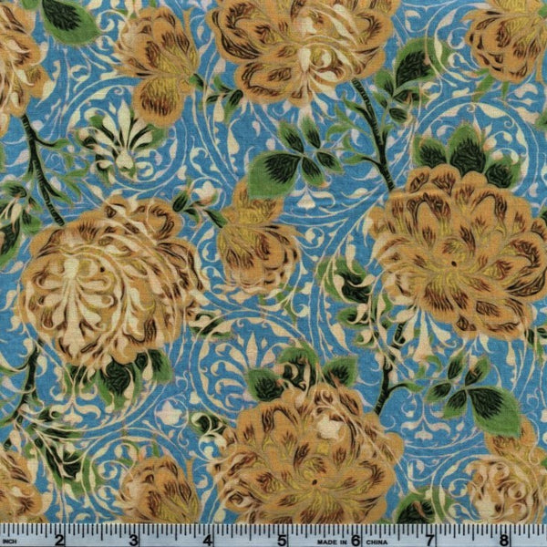 In The Beginning Fabrics Pastiche 2JYG 2 Yellow Flowers On Blue By The Yard
