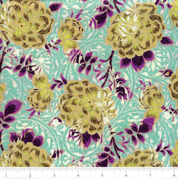In The Beginning Fabrics Pastiche 2JYG 3 Green Flowers On Teal By The Yard