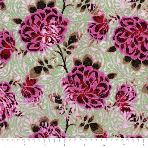 In The Beginning Fabrics Pastiche 2JYG 4 Pink Flowers On Green By The Yard