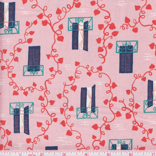 Cotton + Steel Kim Knight Homebody 3004 1 Windows and Vines on Pink by the yard