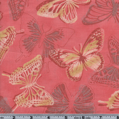 RJR Fabrics Metallic Shiny Objects 3020 2 Silver Accented Butterflies On Pink