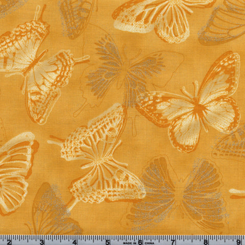 RJR Fabrics Metallic Shiny Objects 3020 3 Silver Accented Butterflies On Golden Yellow by the Yard