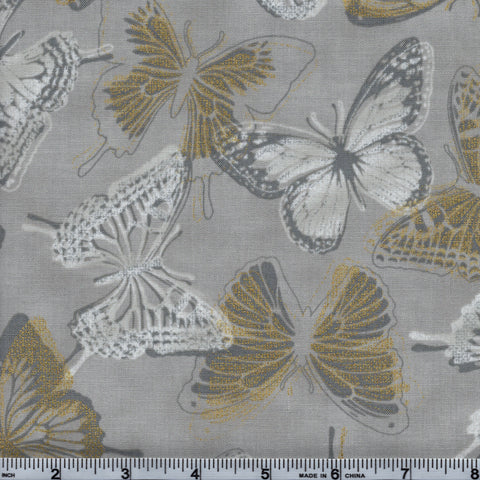 RJR Fabrics Metallic Shiny Objects 3020 4 Gold Accented Butterflies On Yellow