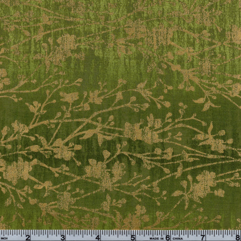 RJR Fabrics Metallic Shiny Objects 3022 2 Green With Gold Floral Vines