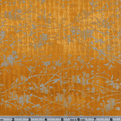 RJR Fabrics Metallic Shiny Objects 3022 4 Yellow With Silver Floral Vines
