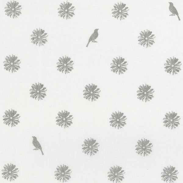 RJR Fabrics Metallic Shiny Objects 3024 2 Silver Flowers & Birds On White