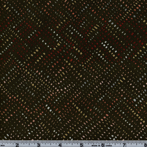 RJR Fabrics Metallic Shiny Objects 3026 2 Dotted Lines On Dark Green