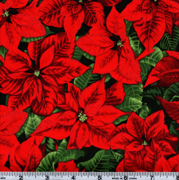 RJR Fabrics Holiday Merry, Berry, & Bright 3152 1 Poinsettias By The Yard