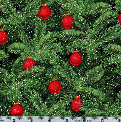 RJR Fabrics Holiday Merry, Berry, & Bright 3154 2 Red Ornaments On Pine By The Yard