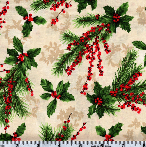 RJR Fabrics Holiday Merry, Berry, & Bright 3155 2 Pine & Holly On Beige By The Yard