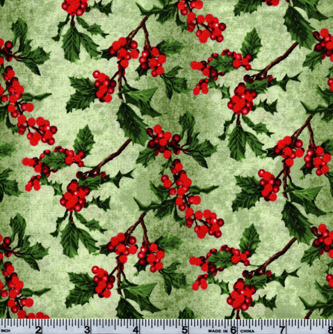 RJR Fabrics Holiday Merry, Berry, & Bright 3156 2 Holly On Green By The Yard