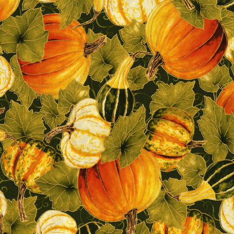 RJR Fabrics Metallic Autumn Air 3190 1 Green Pumpkin Patch By The Yard