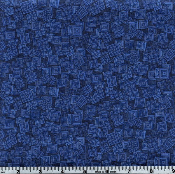 RJR Fabrics Hopscotch 3215 1 Navy Falling Abstract Squares By The Yard