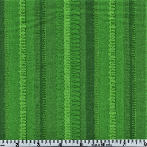 RJR Fabrics Hopscotch 3218 2 Horizontal Pen Swirls On Green By The Yard